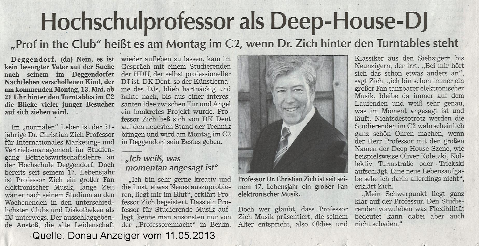 Artikel im Donauanzeiger 11.05.2013