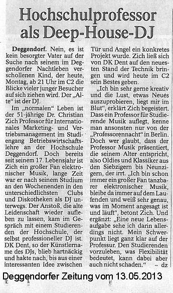 Artikel in der Deggendorfer Zeitung 13.05.2013