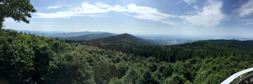 Panoramablick vom Hirschenstein aus auf das Bernrieder Tal