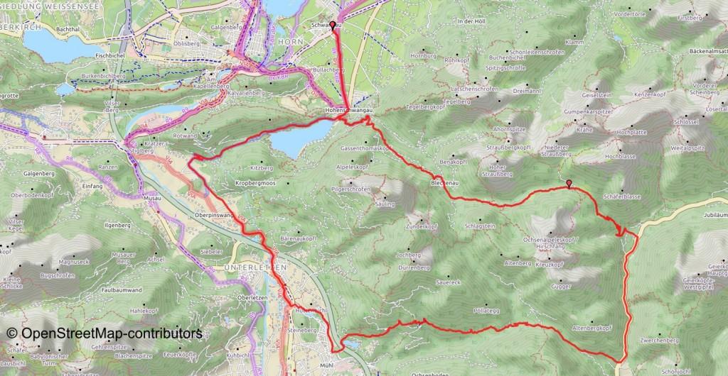 MTB-Tour rund um den Säuling, Karte