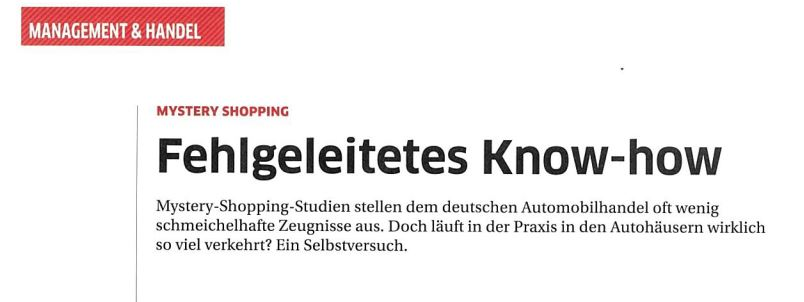 Mystery Shopping Artikel aus der Zeitung kfz betrieb
