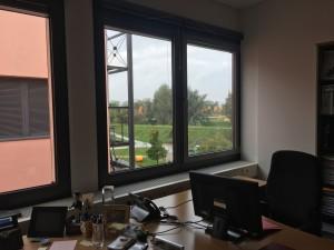 Semesterbeginn Wintersemester 2017. Blick aus dem Fenster der technischen Hochschule Deggendorf