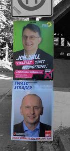 Wahlplakate der Grünen und der SPD