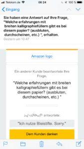 Amazon, Antwort auf eine Frage