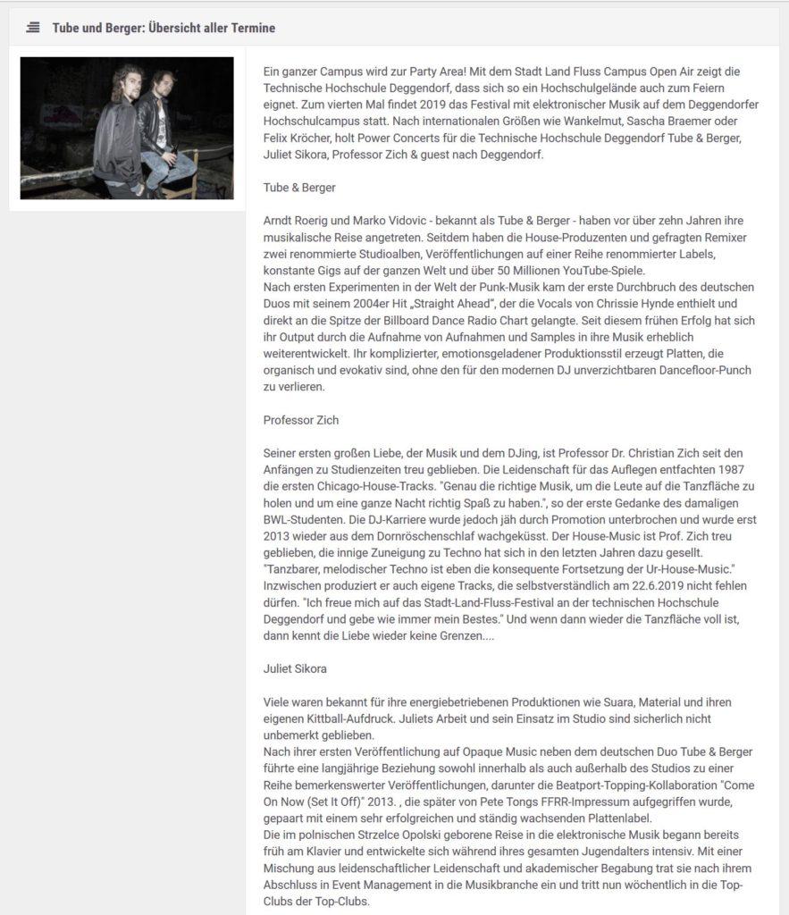 Ankündigung der Künstler auf dem Stadt Land Fluss Festival der Technischen Hochschule Deggendorf