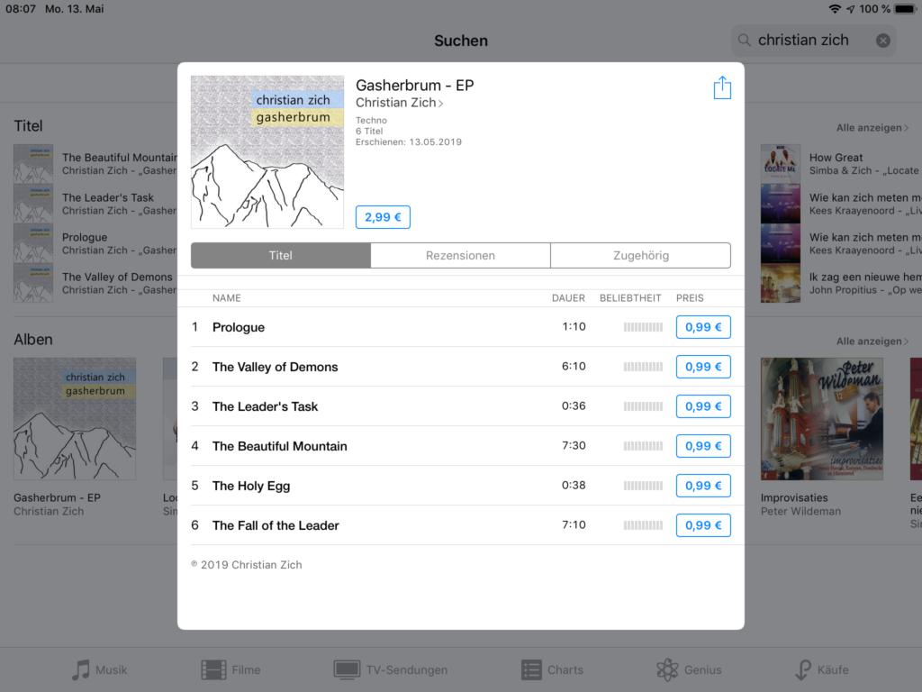 Screenshot aus dem iTunes-Store. Gasherbrum, ein Release von Professor Dr. Christian Zich.
