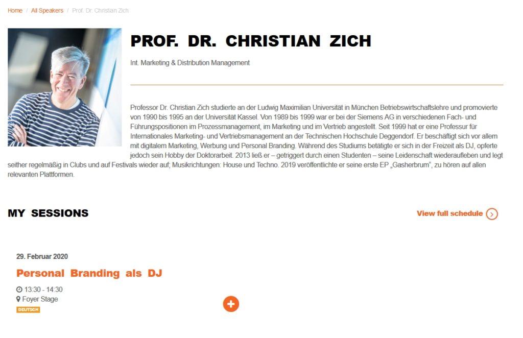 mixcon 2020, Vortrag von Professor Dr. Christian Zich über Personal Branding bei DJs.