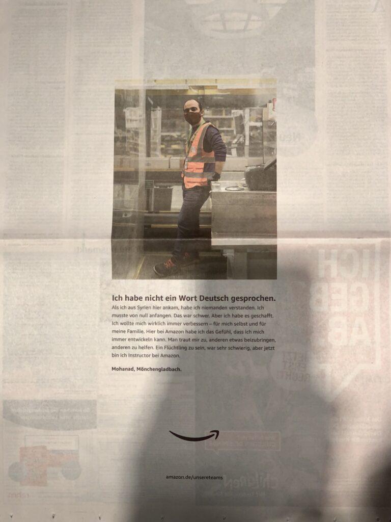 Amazon-Image-Werbung in der Süddeutschen Zeitung vom 28. November 2020
