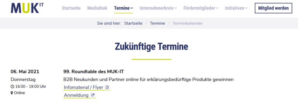 99. Roundtable des MUK-IT in München. Mein Vortrag zur Vermarktung erklärungsbedürftiger Produkte.